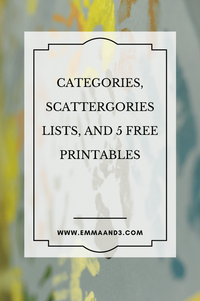 Scattergories Categories Free Printable Emma And 3